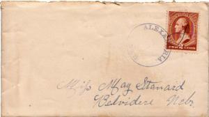 United States Nebraska Alexandria 1884 serifed cds, ms killer  2c Washington ...