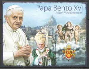 BC683 2011 GUINEA-BISSAU GREATEST HUMANISTS TRIBUTE TO POPE BENEDICT XVI 1BL MNH