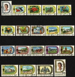 Dominica SG272/90 Set of 19 on Chalky Paper Fine Used Cat 35 pounds