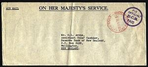FIJI 1968 OHMS cover to NZ : POSTAGE PAID IN CASH Suva cds.................71947