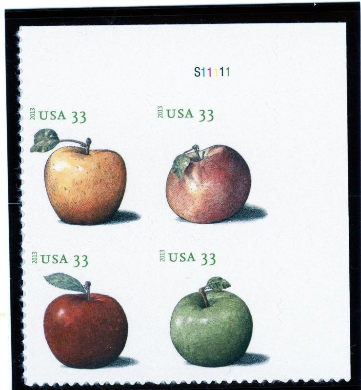 US  4727-30  Apples 33c - Plate Block of 4 - MNH - S11111  UR