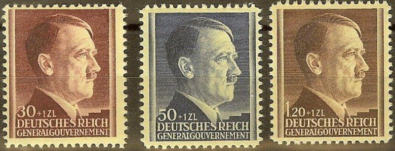 Stamp Germany Poland General Gov't Mi 089-91 Sc NB12-4 1942 WWII War Hitler MNG