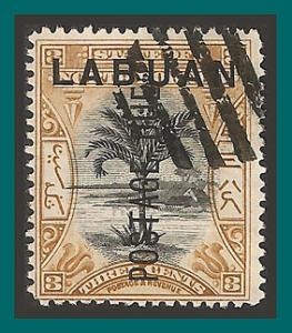 Labuan 1901 Postage Due, Palm Tree, cancelled  J2,SGD2