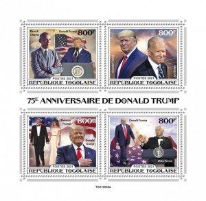 TOGO - 2021 - Donald Trump - Perf 4v Sheet - Mint Never Hinged