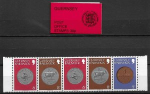 1979 Guernsey Vending Machine booklet with 180a strip of 5 MNH
