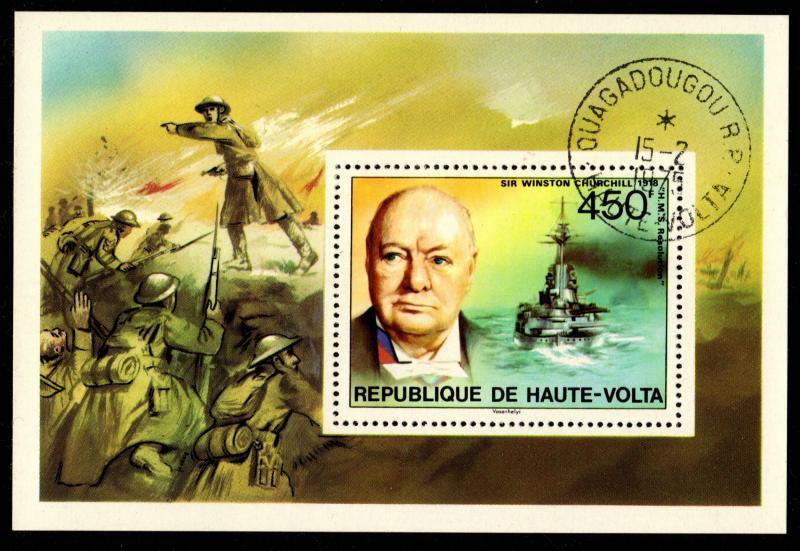 Upper Volta - Cancelled Souvenir Sheet Scott #351 (Winston Churchill, Ship)