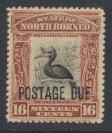 North Borneo SG D75 MLH 16c Opt Postage Due  see details and scans
