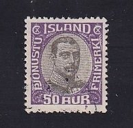 Iceland    #O46   used   1920  Christian X   50a   centre in grey-black