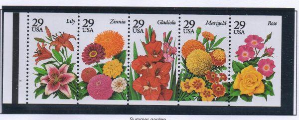 United States Sc 2833a 1994 29 c Summer Garden stamp booklet pane mint NH