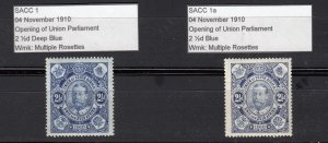 J28424 1910 south africa mh #1 blue & deep blue king