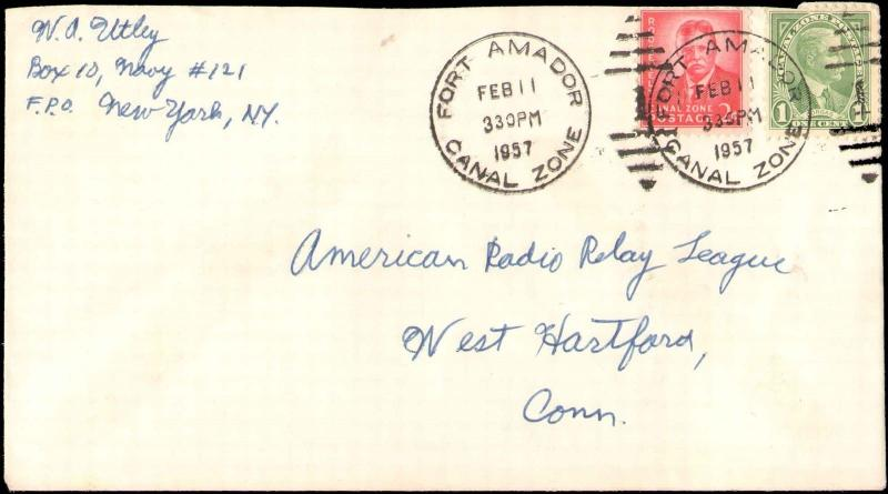 1957 CANAL ZONE ( FORT AMADOR ) MULTI STAMP TO UNITED STATES