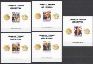 LX171 IMPERF 2016 NIGER DONALD TRUMP USA PRESIDENT !!! UV CARDBOARD 5BL MNH