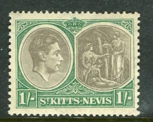 ST. KITTS; 1938 early GVI issue fine Mint hinged Shade of 1s. Perf 13x12 value