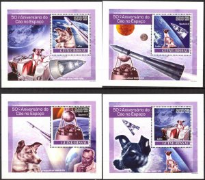 {241} Guinea Bissau 2007 Dogs in Space 4 S/S Deluxe MNH**