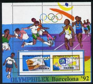 Nigeria 1992 'Olymphilex 92' Olympic Stamp Exhibition m/s...