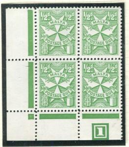 MALTA; 1953 early Postage Due issue fine MINT MNH Corner 1/2d. Block