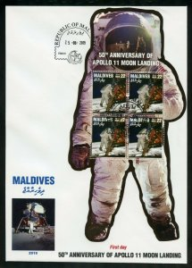 MALDIVES 2019 50th ANNIVERSARY  OF APOLLO 11 MOON  LANDING  SHEET III  FDC