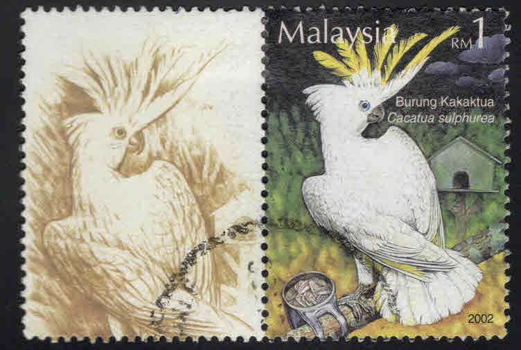 Malaysia Scott 907a Used Bird stamp with something extra at left???