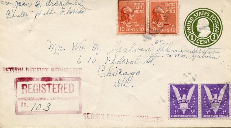 U.S. Scott 815 (2) Prexie and 905 (2) on Scott U532 Stamped Envelope -Registered