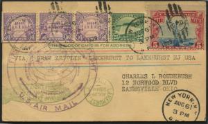 FIRST ROUND THE WORLD FLIGHT CARD (SIEGER #28D) VIA ZEPPELIN AUG 29,1929 BL1817