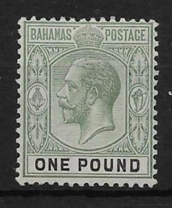 BAHAMAS SG89 1912 £1 DULL GREEN & BLACK MTD MINT