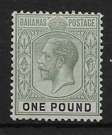 BAHAMAS SG89 1912 £1 DULL GREEN & BLACK MTD MINT