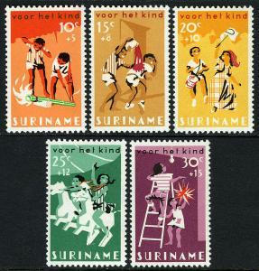 Surinam B127-B131, MNH. Child Welfare. Children's games, 1966