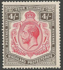 NYASALAND SG95d 1913 4/= CARMINE & BLACK NICK IN TOP RIGHT SCROLL VAR MTD MINT