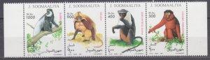 1994 Somalia 520-523strip Fauna - Monkeys 8,50 €