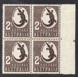 Australia Sc 302 1956 2/ Crocodile stamp block of 4 mint NH