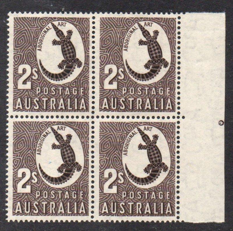 Australia Sc 302 1956 2/ Crocodile stamp block of 4 mint NH