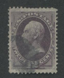 1870 US Stamp #151 12c Used F/VF Short Perfs Faint Cancel Catalogue Value $210