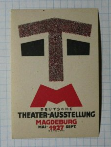 German Theater Exhibition Magdeburg 1927 Exposition Poster Stamp Ads