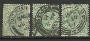 GB 1902 - 10 KEV11  3 x 1/2d green stamps wmk 49. ( T453 )