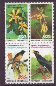 J25092 JLstamps 1993 indonesia blk/4 set mnh #1562 wildlife