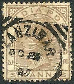 Zanzibar SGZ60 6a Pale Brown Z5 Squared Circle dated 25th Oct 1887