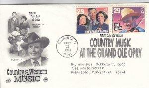 1993, Country Music-Bob Wills, The Carter Family, Artcraft/PCS, FDC (E9097)