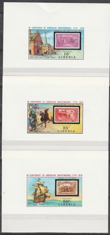 Liberia #705, 707-8  MNH Proofs (A17545)