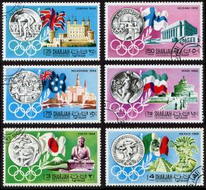 Sharjah Mi 496-501 cto set/6 1968 History of the Olympics