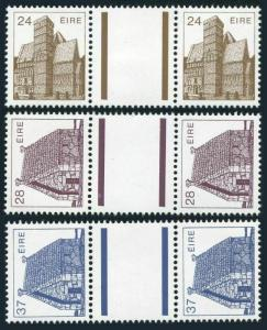 Ireland 638-639,641 gutter,MNH.Mi 571-572,574. 1985.Architecture.Church,Chapel,