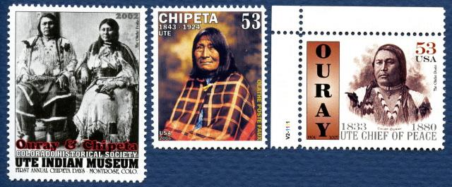 LP TOP Chief Ouray, Wife Chipeta, Ute Poster Stamp Set