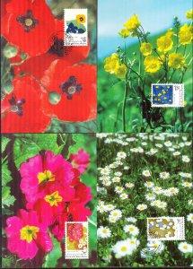 Liechtenstein 1996 Art Paintings Flowers 4 Maxi Cards FDC