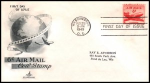 US C41 Airplane Coil Artcraft Typed FDC