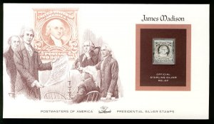 US US #312, $2 James Madison,  STERLING SILVER RELIEF Cover, fresh and clean,...