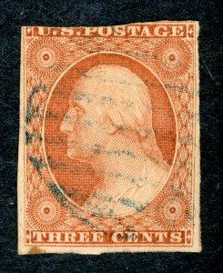 #11 – 1855 3c George Washington, dull red, type I, imperf. Used. Light Cancel.