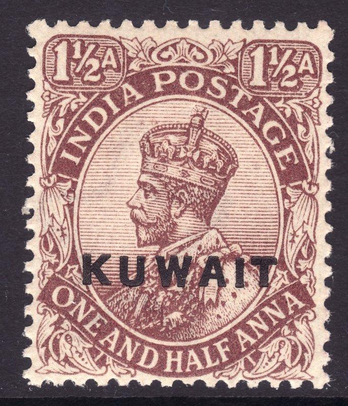 1923 - 1924 Kuwait KGVI 1½ Anna issue MNH Sc# 3 Wmk 39 CV $10.00