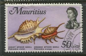 Mauritius - Scott 350 - QEII Pictorial Definitives -1969 -Used -Single 50c Stamp