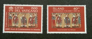 Vatican - Iceland Joint Issue Christianity 2000 (stamp pair) MNH