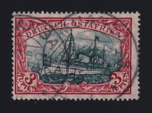 German East Africa #41a (1908) 3r red & blackish green Yacht Used Muansa CDS