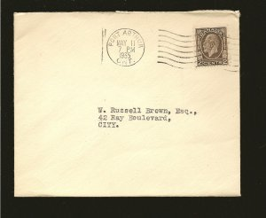 Canada 196 on Postmarked 1935 Port Arthur Ont House of Commons Cover Used